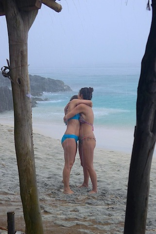 An outbreak of hugs during a tropical storm. © Roger Garwood 2013